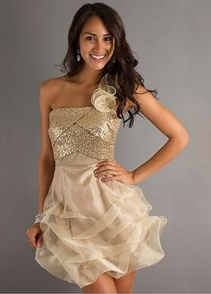 Buy discount Stylish Oraganza & Sequin lace A-line One Shoulder Neckline Mini Length Homecoming Dress at Dressilyme.com
