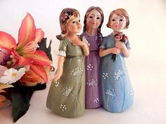 Three Girls Figurine Vintage Resin Colorful Hand Painted Friend Sister Home Decor Gift for Her