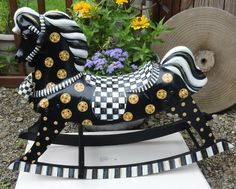 MY HAND PAINTED ROCKING HORSE WITH MACKENZIE-CHILDS COURTLY CHECK RIBBON BOW