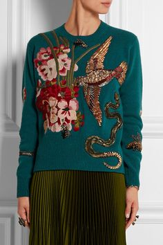 Teal wool Slips on 100% wool; appliqué: 90% metallic fibers, 10% viscose; embroidery: 85% wool, 15% angora Dry clean  Designer color: Light Kingfisher Multicolor Made in ItalyNET-A-PORTER.COM is committed to selling humanely sourced angora from trusted, ethically responsible suppliers. Embroidered Clothes, Wool Sweaters, Beaded Embroidery, Christmas Sweaters, Ready To Wear, Teal, Gucci, Things To Sell, My Style
