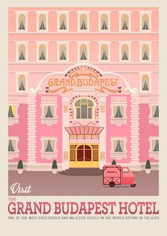Love the poster colors Grand Budapest Hotel, Best Movie Posters, Film Posters, Poster Wall, Poster Prints, Wes Anderson Movies, Wes Anderson Poster, Pink Hotel, The Royal Tenenbaums