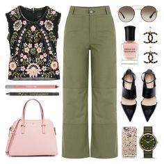 """Cropped Top & Culottes"" by lgb321 ❤ liked on Polyvore featuring Kate Spade, Needle & Thread, M.i.h Jeans, Deborah Lippmann, Prada, Cynthia Rowley, Chanel, Urban Decay, Marc by Marc Jacobs and Casetify"