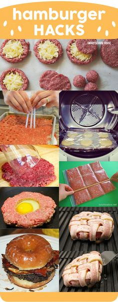 Hamburger Hacks - 8 Insanely Delicious Ways To Make Hamburgers - Beef Recipes - I Love Food, Good Food, Yummy Food, Do It Yourself Food, Beef Dishes, Ground Beef Recipes, Summer Recipes, Food Hacks, Food Tips