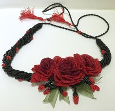 A personal favorite from my Etsy shop https://www.etsy.com/listing/564473651/red-roses-flower-choker-crochet-turkish