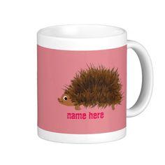 Cute Hedgehog add name Basic White Mug
