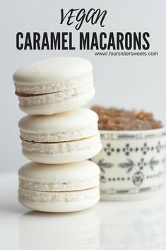 Vegan Aquafaba Caramel Macarons! These macarons are vegan, gluten free, and absolutely delicious! #frenchmacarons #veganbaking #veganmacarons