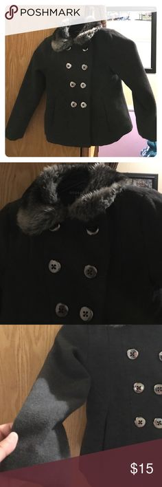 Girls Peacoat Charcoal grey with fur collar. Great shape! George Jackets & Coats Pea Coats