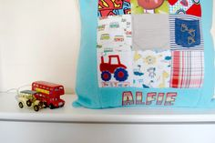 Personalised Memory Cushion, Handmade Keepsake Cushion, Cushion made from your Childrens Clothes, Ba Keepsake Quilting, Patchwork Cushion, Cushions, Pillows, Mini Quilts, Kid Names, Quilt Making, Cushion Covers, Kids Outfits
