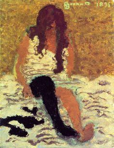 Paul Bonnard ~ Vrouw die haar kousen aantrekt ~ 1893 ~ Olieverf op karton ~ 35,2 x 27 cm. ~ Particuliere verzameling