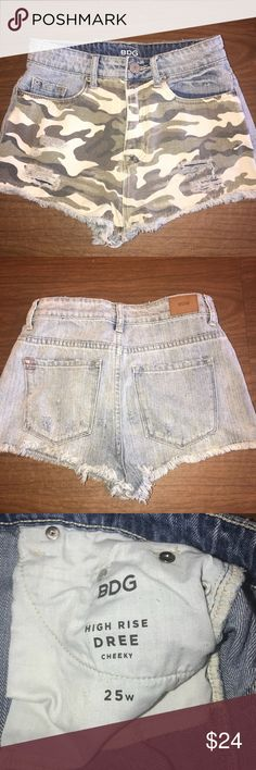 Urban Outfitters: BDG High Rise Cheeky Camo Shorts Camo in the front and regular jean in the back. Size 25. Basically brand new, worn once and in perfect condition Urban Outfitters Shorts Jean Shorts