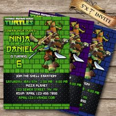 Teenage Mutant Ninja Turtles Birthday Invitation by ClipArt911