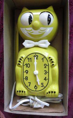 Vintage yellow 1960's Kit Cat Clock