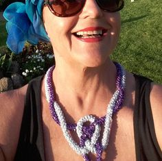 Luxury Jewelry Crochet Necklace   Purple and Silver by knittee