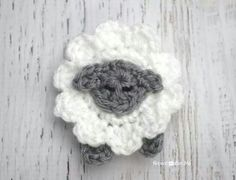 Lamb Sheep Front View Crochet Applique Motif (Inspiration ONLY. No Pattern)