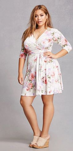 Plus Size Floral Belted Dress #womensclothing