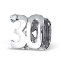 Number 30 Birthday Real Sterling Silver Charm Bead