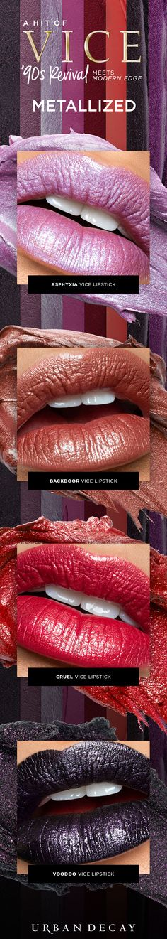 So many vices - so little time. Take your lipstick to a whole new level with our Metallized Vice Lipstick shades. Like what you see? Click now to make them yours. #LipstickIsMyVice
