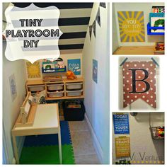 Tiny Playroom under the stairs for under $100! So easy and such a fun place to play!