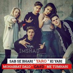 Hindi Attitude Quotes, Friendship Quotes In Hindi, Attitude Quotes For Boys, Group Of Friends Quotes, Best Friend Quotes Funny, Crazy Girl Quotes, Girly Quotes, Bad Words Quotes, Quotes About Hate
