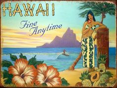 """Fine Anytime Metal Sign: Surfing and Tropical Decor Wall Accent by OMSC. $19.50. Eco-friendly process, hand-made in the USA. This sign measures 16"""" x 12"""" (400 mm x 300 mm). Rounded corners with holes for easy hanging. Ships in Ploy-bag for complete protection. Glossy, full-color, enamalized imaged baked onto thick, 24-gauge steel. The """"Fine Anytime Metal Sign"""" is hand-made in America. These sturdy metal signs will perfectly accent any kitchen, home, bar, pub, game room, off..."""