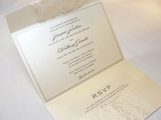 I love the lace on these invites and the pocket to put the RSVP card and rehearsal dinner invite