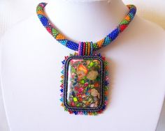Beadwork Bead Embroidery Pendant Necklace with Rainbow Sea Jasper and Pyrite - SUMMER DAY - Summer collection - Colorful Geometric necklace by lutita on Etsy https://www.etsy.com/listing/97676397/beadwork-bead-embroidery-pendant