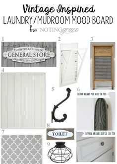 ORC: Vintage Inspired Laundry Room Makeover Before and Mood board- the light is perfect. Farmhouse Laundry Room, Farmhouse Decor, Laundry Rooms, Farmhouse Style, Diy Wood Projects, Home Projects, Pallet Light, Thing 1, Built In Cabinets