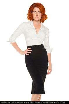 Laura Byrnes- High Waisted Seamed Pencil Skirt in Black Ponte de Roma Knit | Pinup Girl Clothing