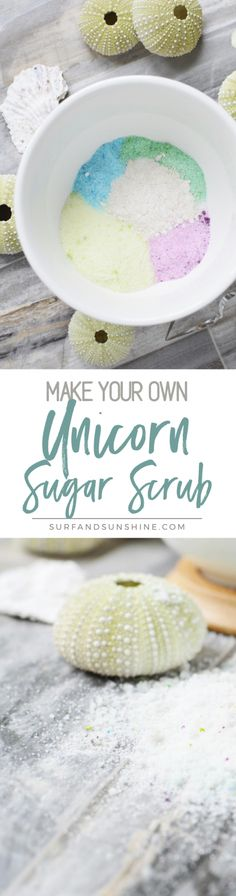 DIY Unicorn Sugar Scrub - here is a great way you can treat your skin and your soul with a DIY Sugar Scrub that's sure to make your inner unicorn glow. via @jeanabeena