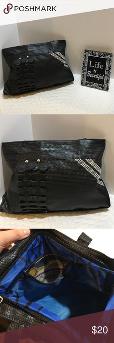 Bling and Black Purse NWOT NWOT Black weave design (not actually weave) purse with flowers and bling.  Inside has a design on the lining and inside pocket. Approx 15.5 inches x 10 inches. Shoulder strap is about 7.5 inches from top to top of purse. Ask questions!                 L34 Bags Shoulder Bags