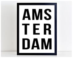 Amsterdam Poster Netherlands Print Word by PurplePrintHouse