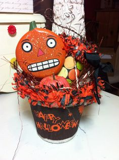 Halloween peat pot basket ornament vintage style