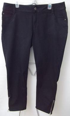 Lane Bryant Jeans Pants Black Side Zipper at Ankles Womens Size 18 #LaneBryant #Straight
