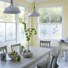 Stuck for inspiration when it comes to your kitchen windows? Try this neat idea with window film — not only will it add a decorative touch but will also give you privacy, too.  Buy plain frosted window film on a roll to cut to size yourself, or try a specialist company that can cut sections in the design and dimensions of your choice.