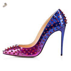 6e1e36e548f0 Onlymaker Women s Rivet Studded Basic Pumps Pointed Toe High Heel Handmade  For Wedding Party Stiletto Shoes