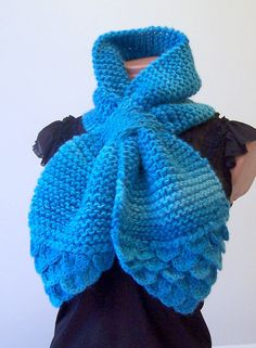 Turquoise  Hand  Knitted  Cowl  fall scarf  Womens Scarf by Ebruk, $45.00