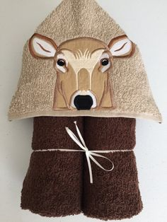 "Deer Applique Hooded Bath, Beach Towel 30"" x 54"" by MommysCraftCreations on Etsy"