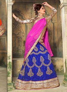 #Cream And #Blue #Net #Circular #Lehenga #Choli #nikvik  #usa #designer #australia #canada #freeshipping #fashion #dress #wedding