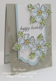 Stampin' Up! UK Demonstrator - Teri Pocock: Birthday Blossoms - Catalogue Inspired Like the bright focus panel on the neutral tone on tone base. Birthday Cards For Women, Handmade Birthday Cards, Happy Birthday Cards, Greeting Cards Handmade, Card Birthday, Hand Stamped Cards, Stamping Up Cards, Tampons, Pretty Cards