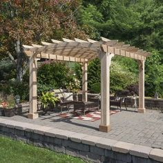 The pergola kits are the easiest and quickest way to build a garden pergola. There are lots of do it yourself pergola kits available to you so that anyone could easily put them together to construct a new structure at their backyard. Vinyl Pergola, Wood Pergola, Pergola Garden, Modern Pergola, Pergola Canopy, Pergola Swing, Deck With Pergola, Cheap Pergola, Covered Pergola