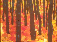 Encore l'automne, je suis en retard!!! Un fond tamponné à l' éponge, des troncs ( et des pinceaux-brosses aussi) de plus en plus fins,...