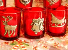 Christmas Red Votive Candle Holder Christmas Table Decor by Loutul