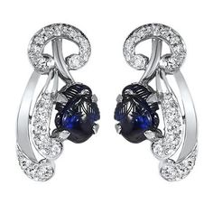 The Lilybelle Earrings from Brilliant Earth These Art Nouveau earrings are true treasures featuring carved cabochon sapphires and thirty glittering diamonds in artistic platinum frames (approx. 0.58 total carat weight).