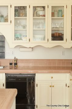 For Glass Cabinets - Add shelf liner BEHIND the shelves <3