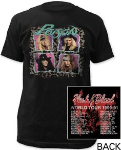 This Poison concert tshirt is from the classic glam metal band's 1990-91 Flesh & Blood Tour which was performed to promote their most recent studio album, at the time, also called Flesh & Blood. Our Flesh & Blood World Tour tee features a photograph of each band member of Poison on the front, while the back spotlights the list of North American cities the band performed in, during the tour. Made from 100% black fitted cotton, this shirt features distressed effects to the graphics…