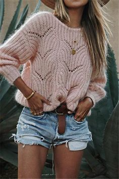 Simplee Elagant wave hollow out pink knitted women sweater Plus size long sleeve pullover Casual solid streetwear femme jumper Casual Sweaters, Winter Sweaters, Sweaters For Women, Cozy Sweaters, Sweater Outfits, Cute Outfits, Fall Outfits, Summer Outfits, Rosa Pullover