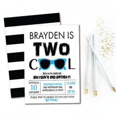 2nd Birthday Invitation Two Cool Boys Party Modern Black Blue Invite