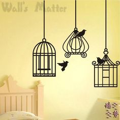 Free shipping 145*145cm birdcage home decoration Wall stickers beautiful adhesive vinyl pattern wall paper unique wall art decal $8.99