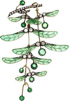 Art Nouveau | Demantoid Garnet, Diamond, Plique-Ã -Jour Enamel, Silver-Topped Gold Brooch