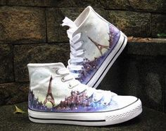 Eiffel tower shoes  Converse Sneakers Hand-Painted Converse Shoes high top Canvas shoes